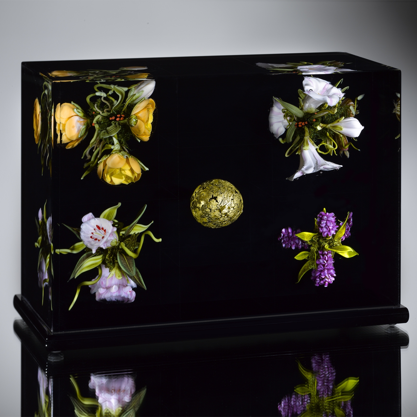 2009; Golden Orb Floral Triptych - Minkoff Collection; H. 5.37 inches x W. 7.75 inches x D. 4.0 inches