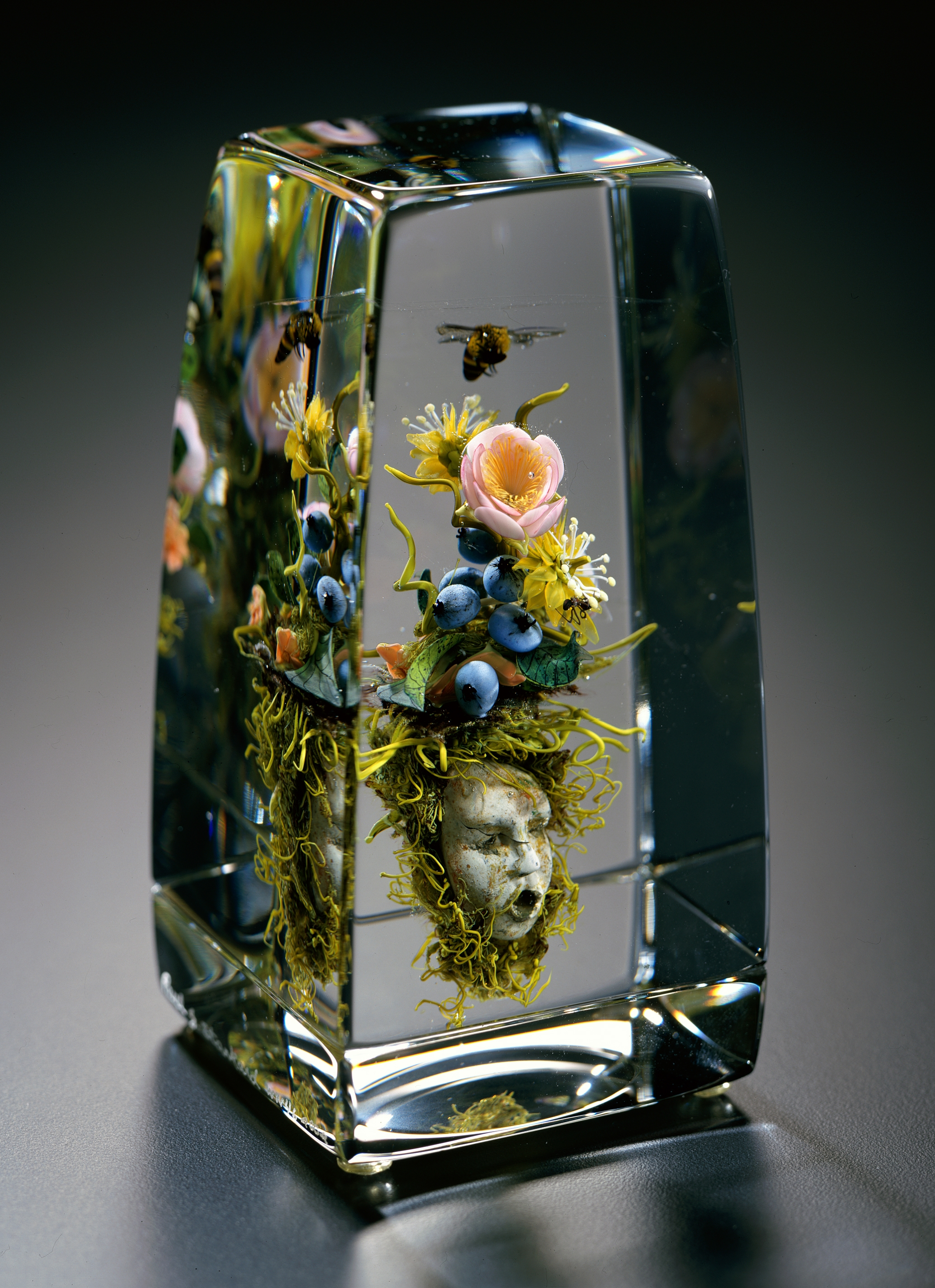 2004; Tea Rose Bouquet with Mask; H. 5.5 inches