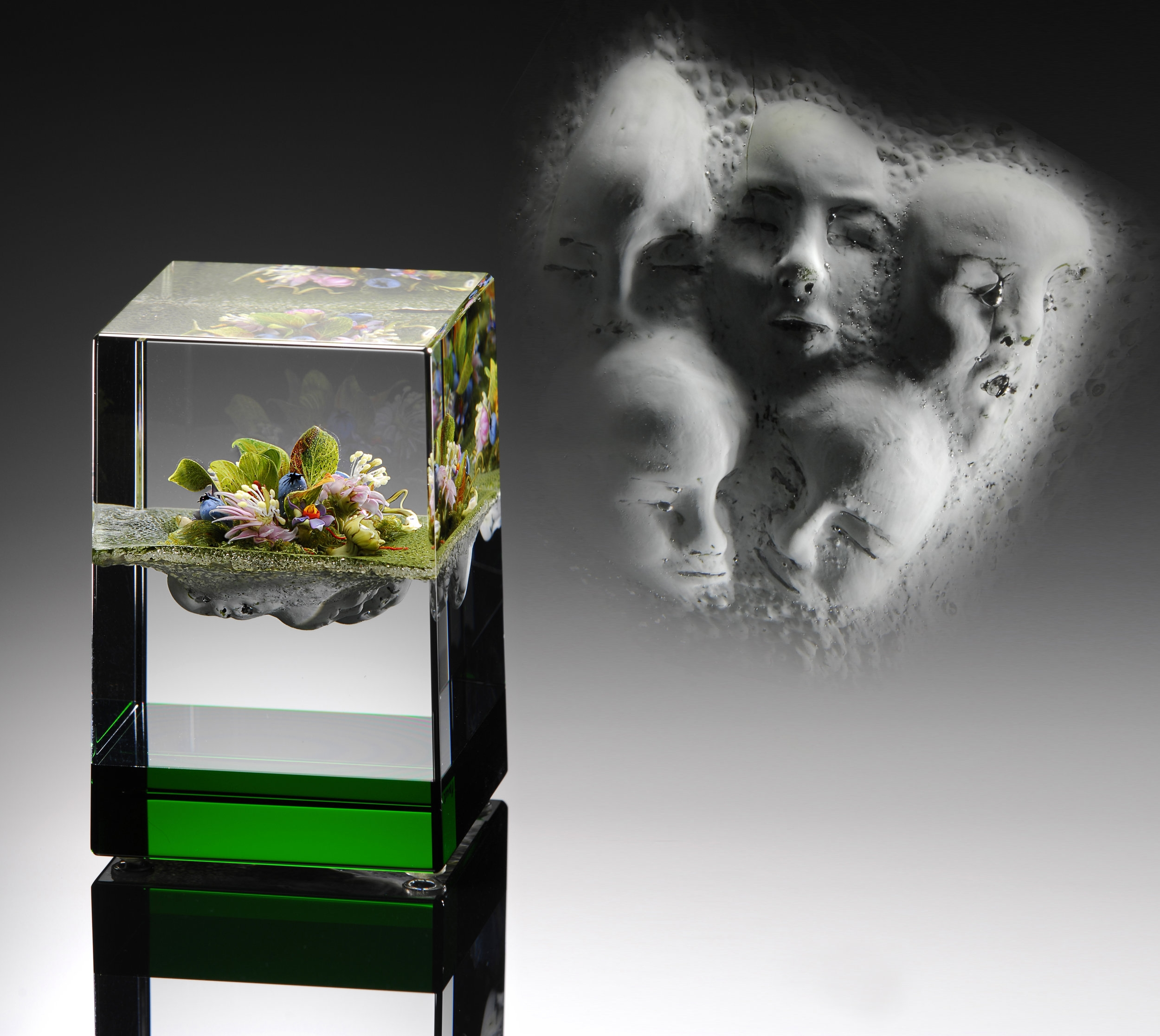 2003; Green-Banded Bouquet Cube with Masks and Pineland Flowers; H. 3 7/8 inches x W. 2 5/8 inches x D. 2 5/8 inches