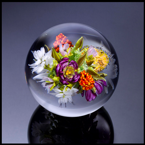 Summer Still Life Orb - Dedicated to Morris Graves   Orb D. 4.0 inches 2017 Photo: Ron Farina Available at Habatat Galleries, Royal Oak, MI