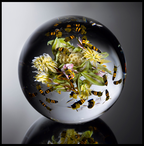 Field Flowers Cluster with Honeycomb and Swarming Honeybees Orb   D. 6.0 inches 2012 Photo: Ron Farina SOLD