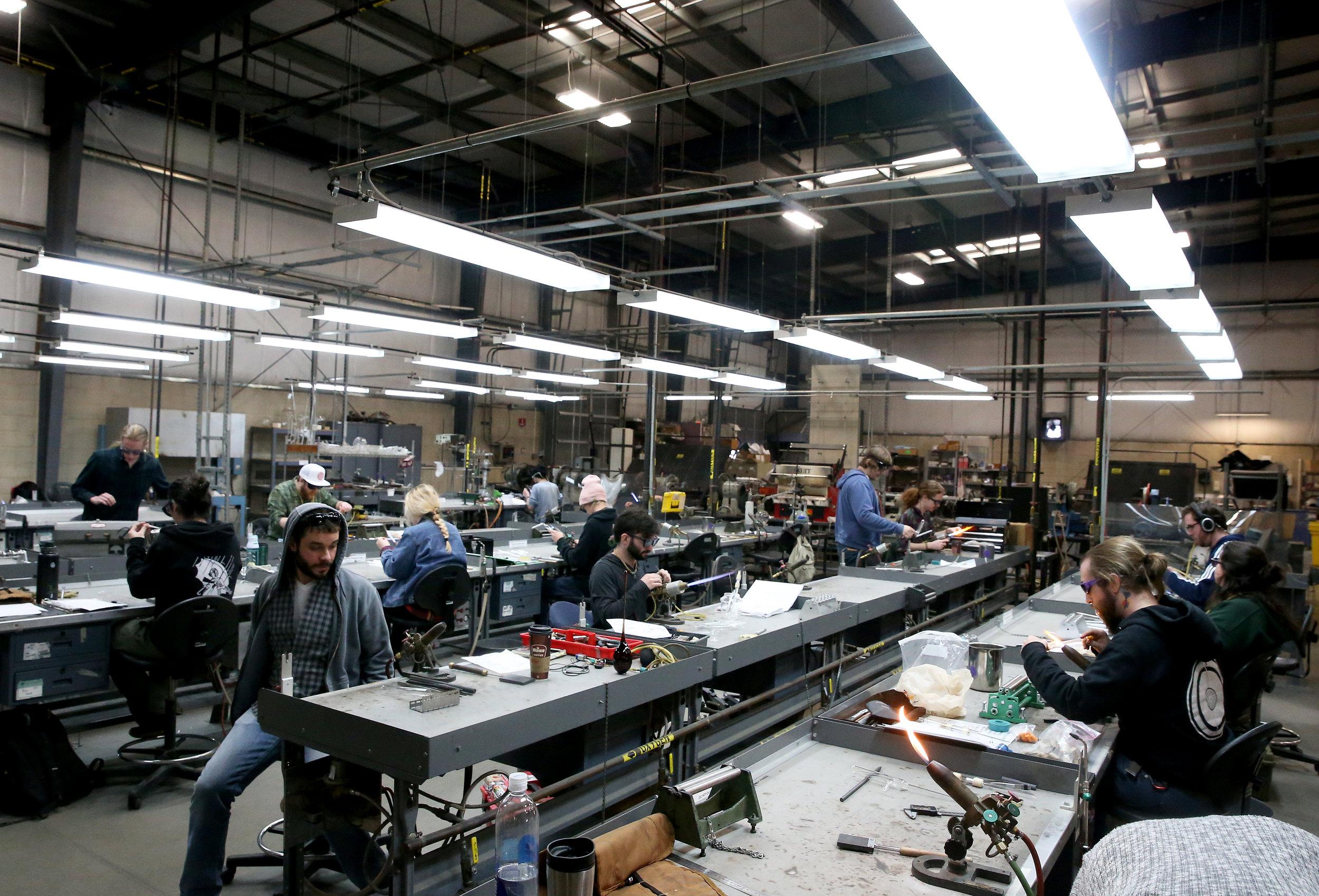 Paul J. Stankard Studio Lab, the largest of any academic institution, allows for instruction of both scientific and creating flameworking at both the bench and on the lathe.