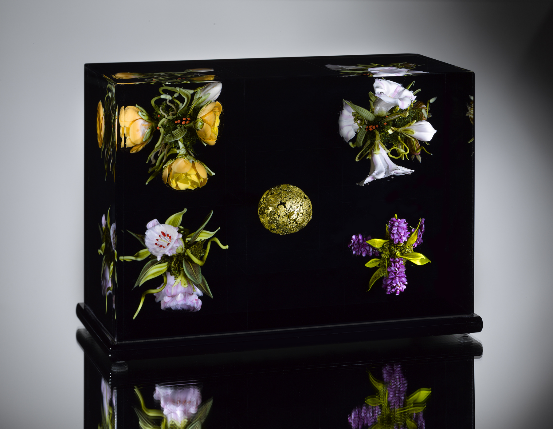 Golden Orb Floral Triptych, 2009, H. 5.37 x L. 7.75 x W. 4.0 inches; From the Minkoff Collection