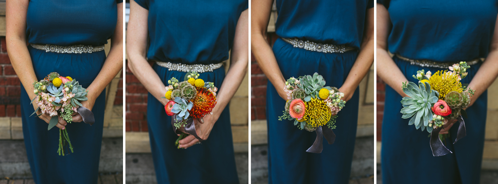 The bridesmaid's bouquets were smaller versions of Heather's bridal bouquet.