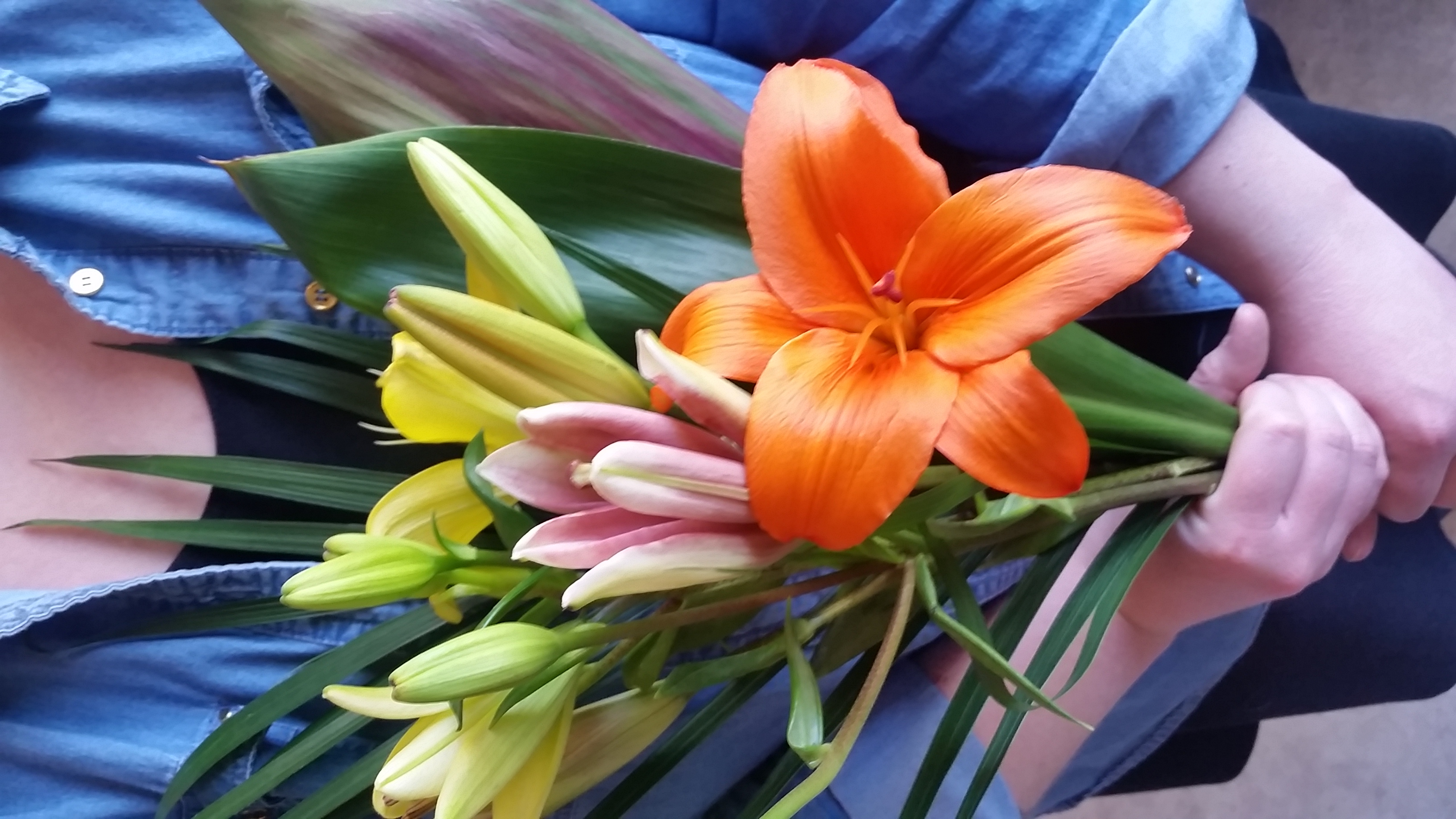 This week's $10 wrap bouquet is PERFECT for Mother's Day! It's comprised of three fragrant and lovely asiatic lilies and a few stems of awesome tropical foliage! Limited to five bouquets per person. Call us at 218-728-1455with the number of bouquets you'll be needing, as well as the day you'd like to pick up!