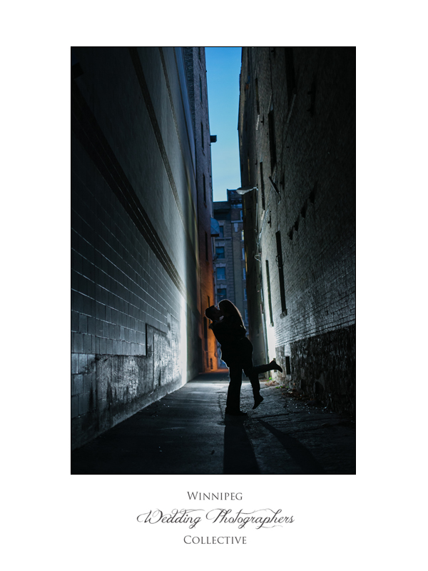 creative engagement photos in Winnipeg exchange district at night