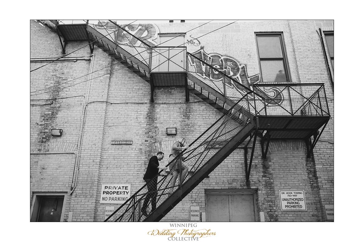 Engagement photos in Winnipeg Exchange District