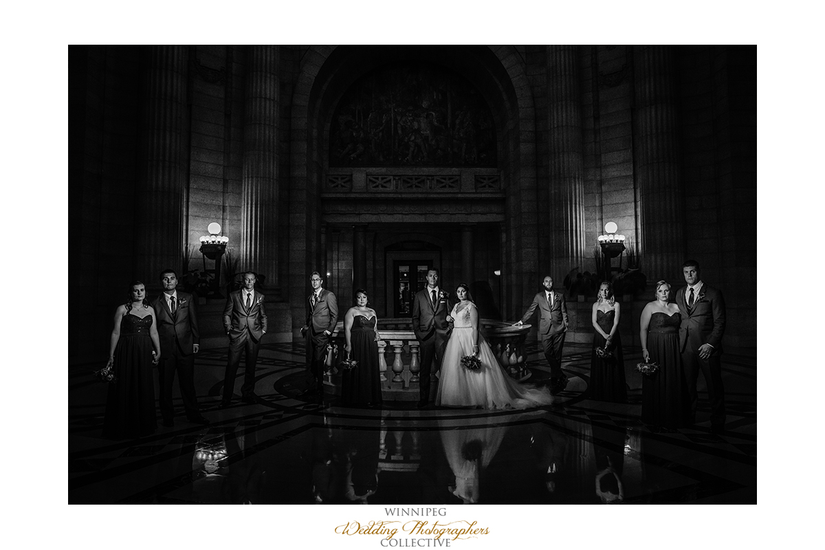Winnipeg photos of Wedding bridal party at Legislative Building