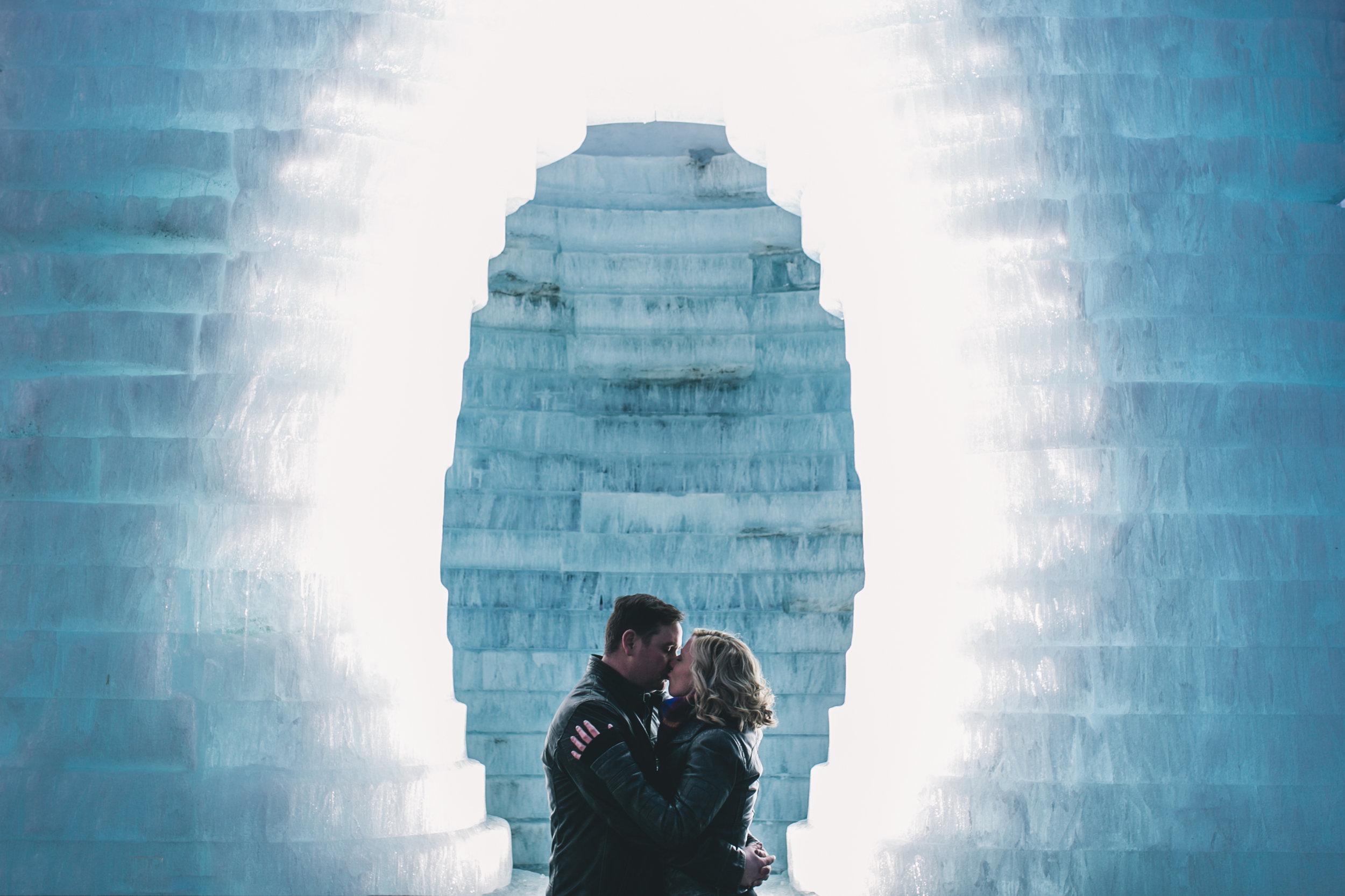 Winter Ice Sculpture engagement photos Winnipeg