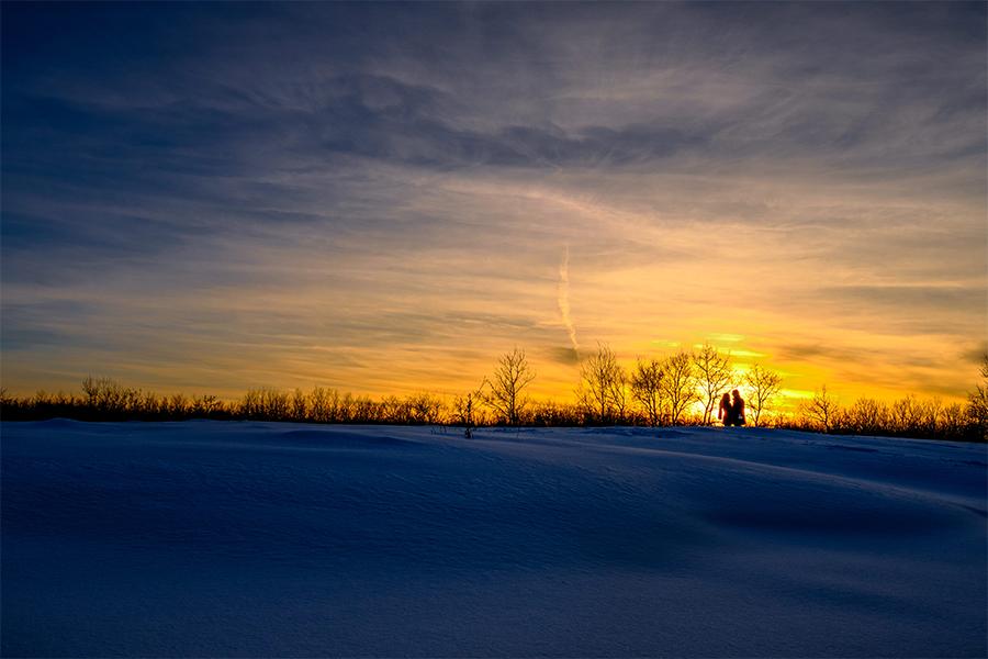 Winter engagement photos Manitoba prairies