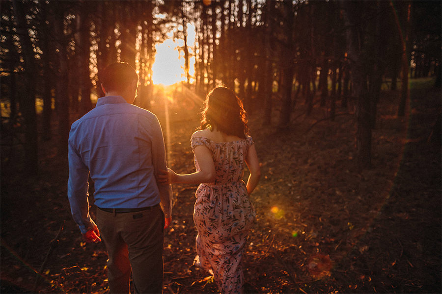 Manitoba woods romantic engagement photos