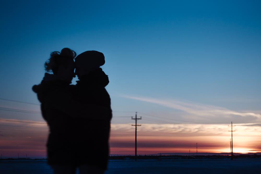Winter photos of couple in love Winnipeg