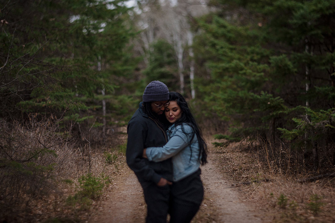 Engagement photo of couple in Birds Hill Park Manitoba