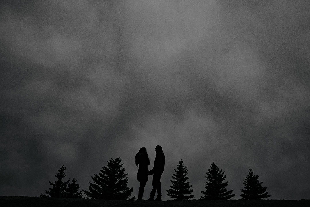 Black and white photo silhouette engagement Birds Hill Park