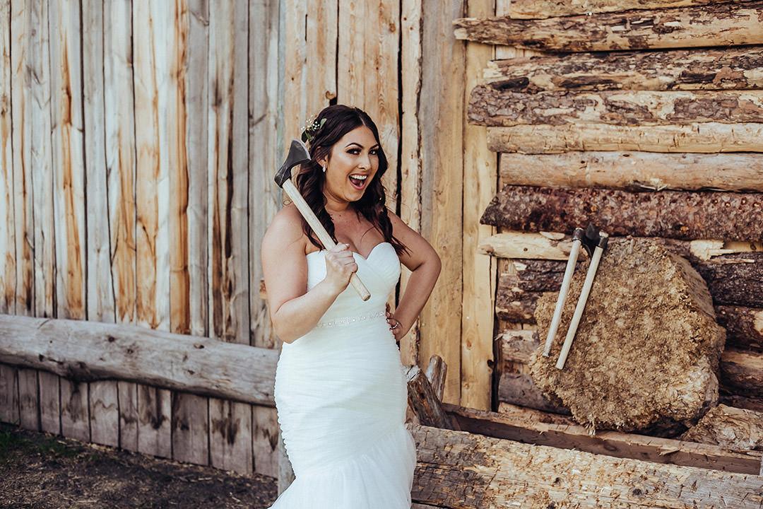 Ax throwing at wedding in Winnipeg