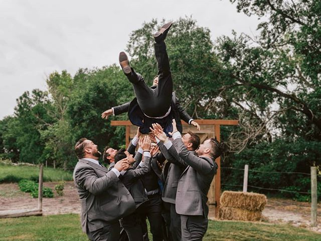 What are the kids saying nowadays?  Oh yeah, YEET . . . #wedding #groom #groomsmen #weddingphotographer #banffweddingphotographer #winnipegweddingphotographer #yeet #fearlesslyauthentic #fearless #weddinginspo #canadianwedding #junebugswedding #playful #playfulwedding #winnipeg #manitoba #travelphotographer #elopementphotographer