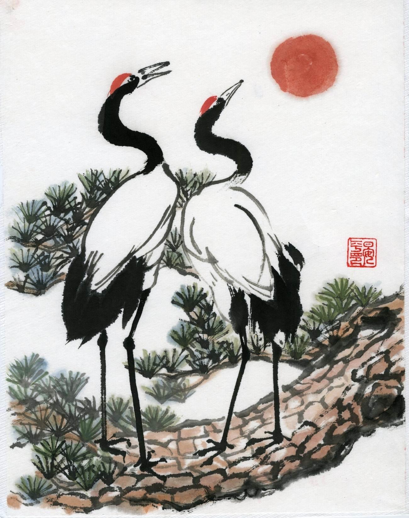 Ping Yan, Longevity Crane and Pine