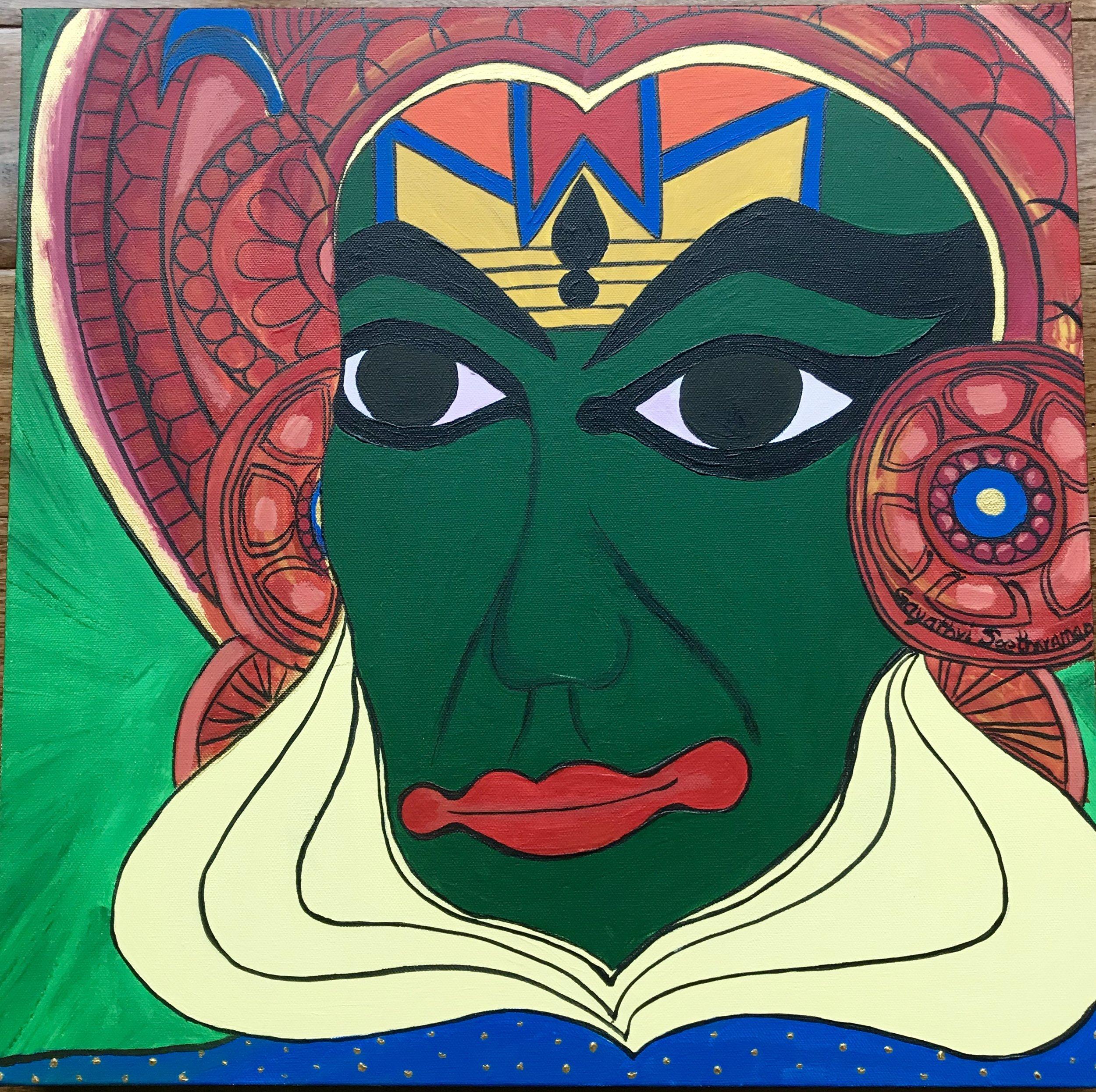 Rama - Painted Face of Kathakali Dancer, Gayathri Seetharaman