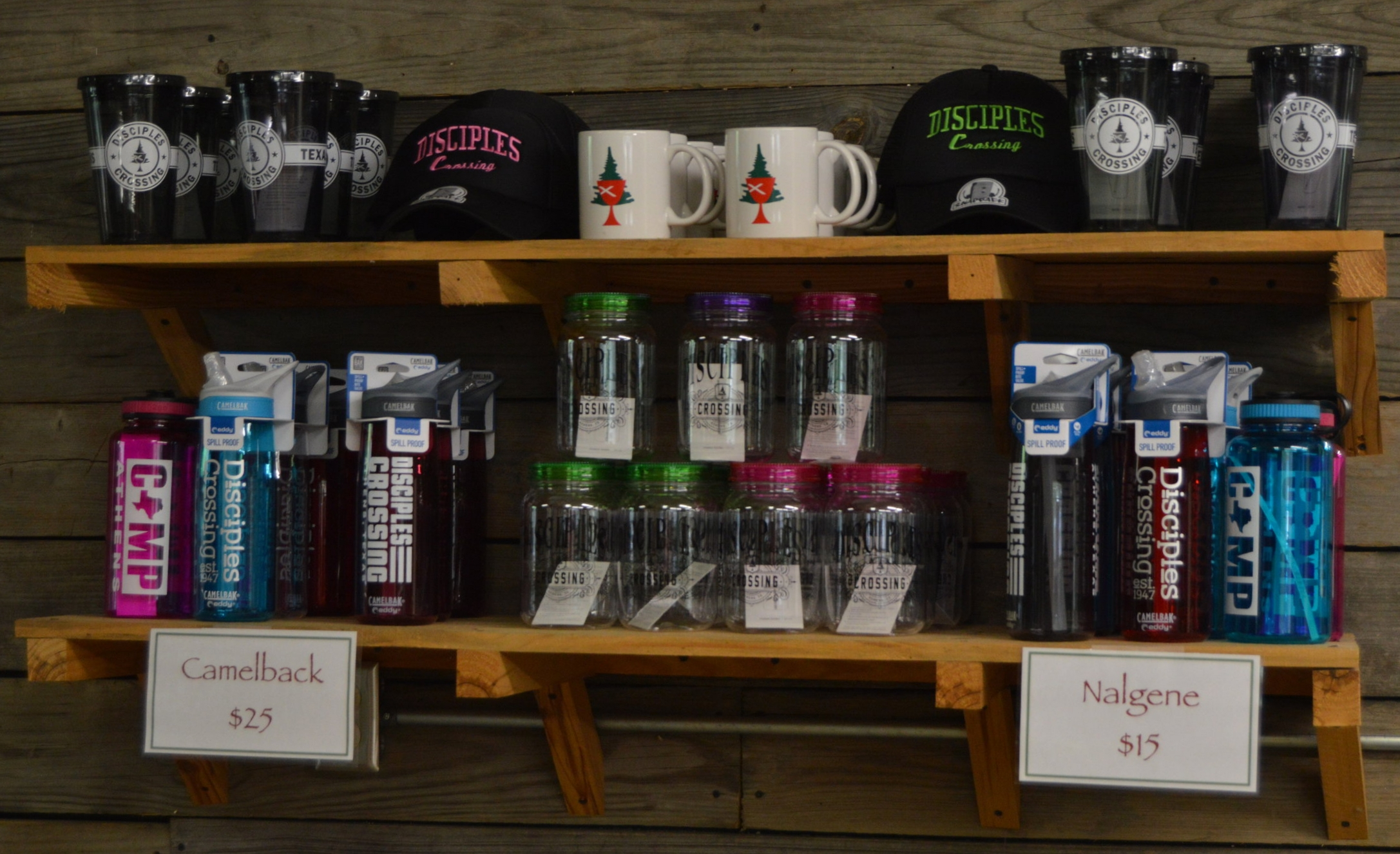 Camelback: $25  Nalgene: $15  Small Coffee Mug: $3  Tumblers:  Mason Jars: $10  Black Hats: $20