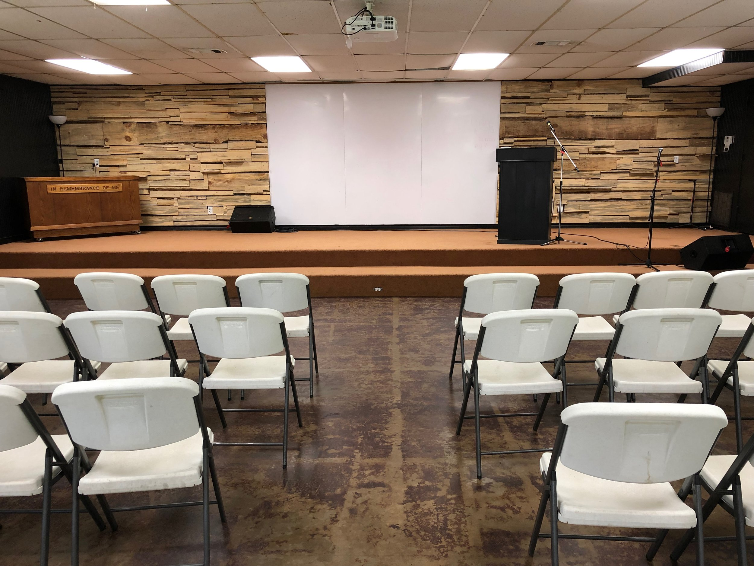 Meeting space for 130 people - Fully equipped meeting/worship space with sound system, projector, and multiple monitors.