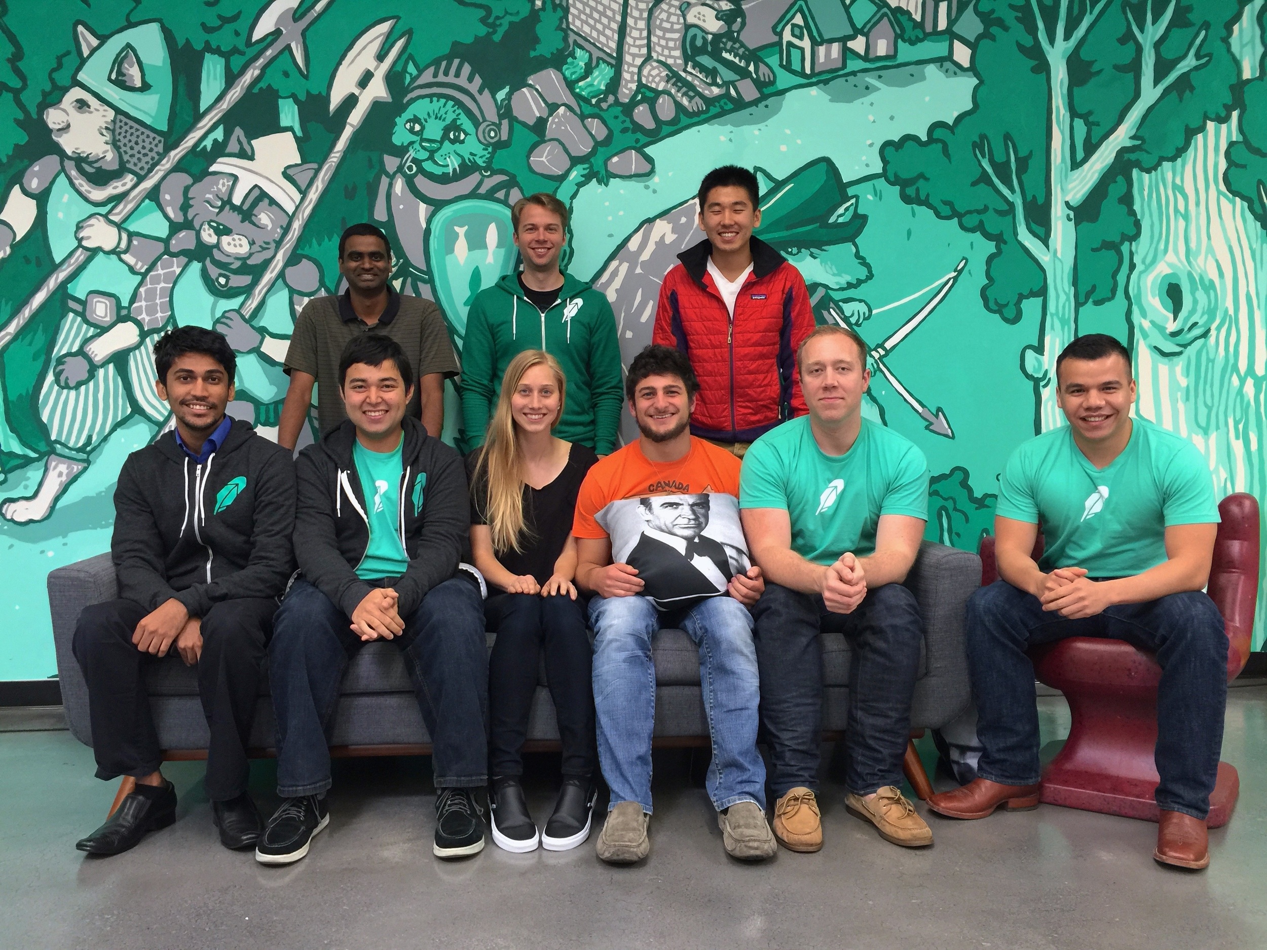 (Left to Right) Back row: Aravind, Dan, & Hongxia. Front row: Arpan, Curran, Hannah, Chris, Scott, & Michael. Not pictured: Olympia & Ask Solem.