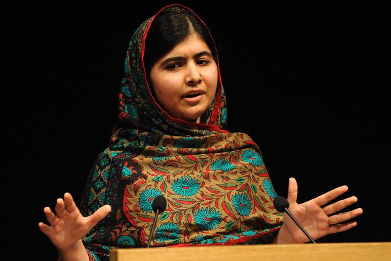 The youngest Nobel Peace Prize recipient in history, Malala Yousafzai, discusses her award in Birmingham, England. Photo courtesy of Rui Vieira/AP.