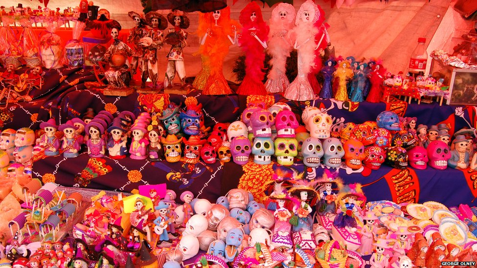 "In San Luis, Mexico, people celebrate Day of the Dead with ""calaveras de dulce,"" or sugar skulls. Source: BBC"