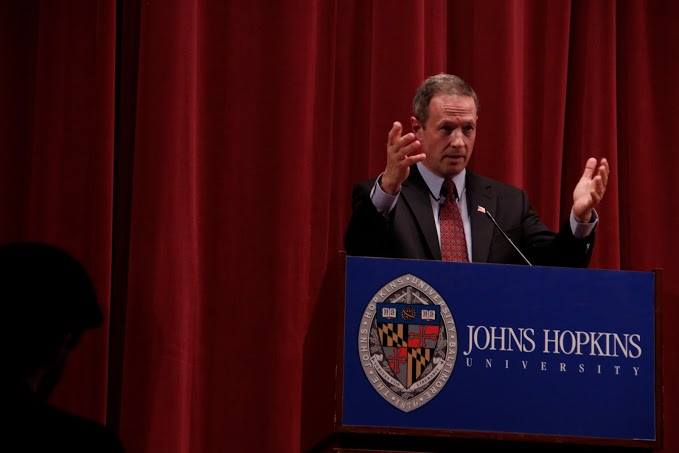Then-Maryland Governor O'Malley speaking at the 2014 Johns Hopkins University Foreign Affairs Symposium