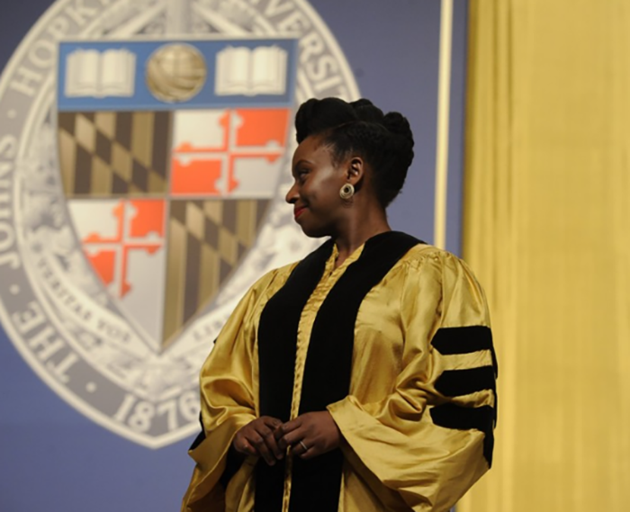 In 2016, Adichie was one of eight recipients of an honorary degree during the Johns Hopkins commencement.