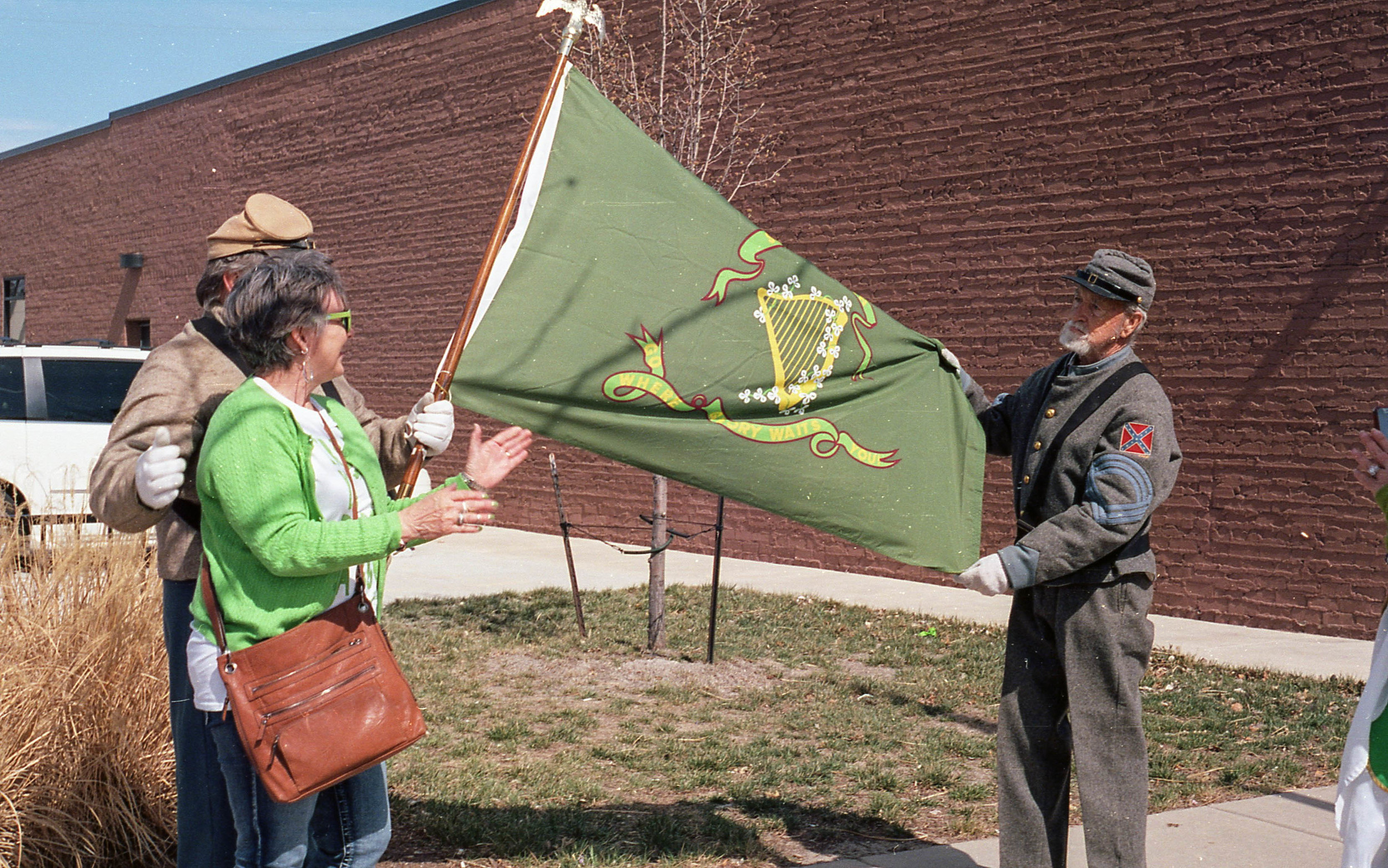 I found this so odd. Confederate reenactors celebrating St. Patrick's Day. Wasn't Kansas a free state? I didn't see any union soldiers at all.