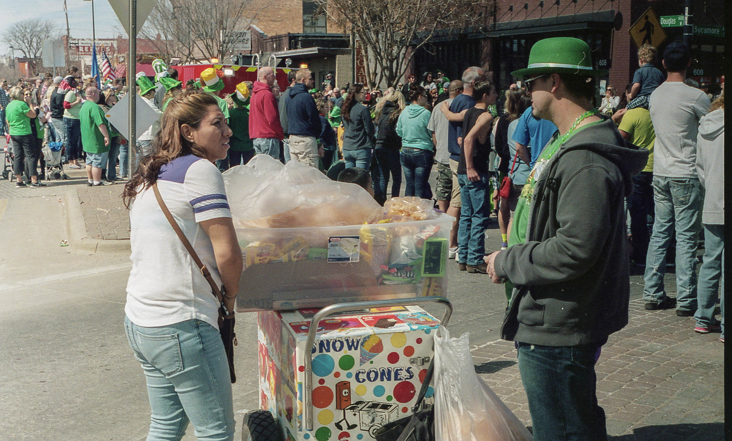 Of course the Mexican street vendors were all around the Irish themed parade.