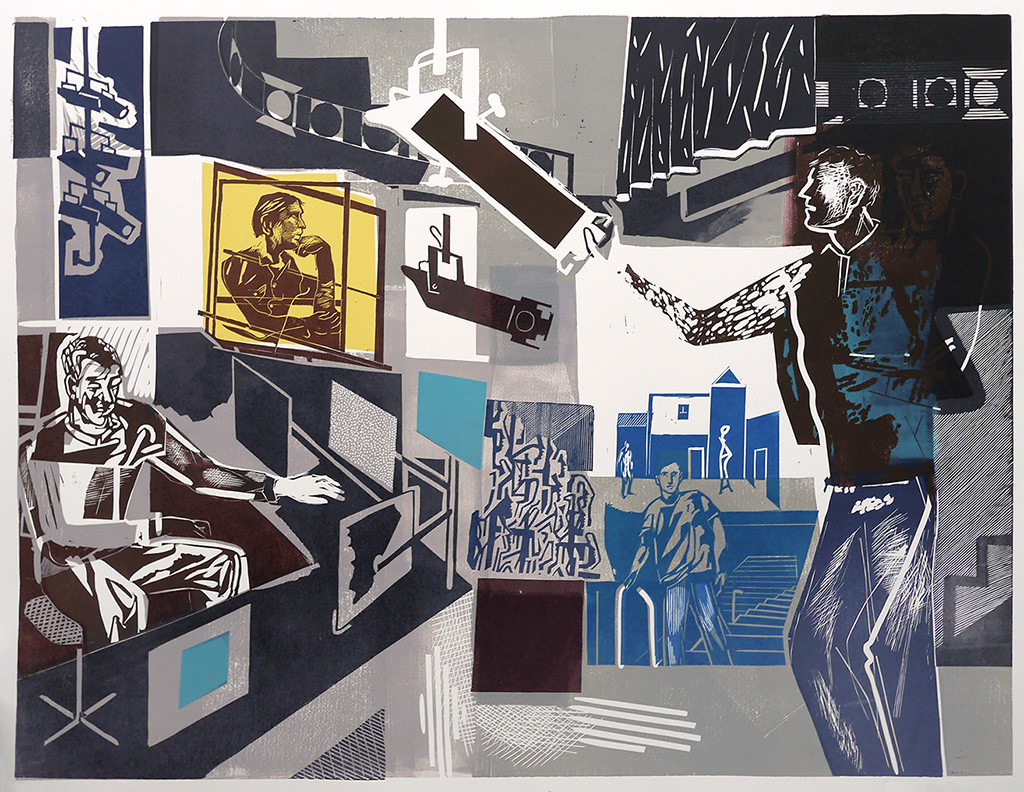 Linocut produced for the National Theatre in London.