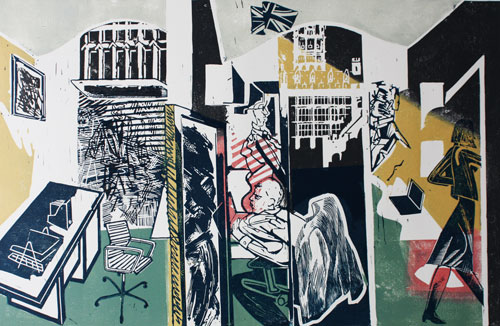 'Portcullis'  colour linocut    The Palace of Westminster Commissioned a selection of British printmakers to celebrate the Queens Diamond Jubilee by producing a print based on Portcullis house.