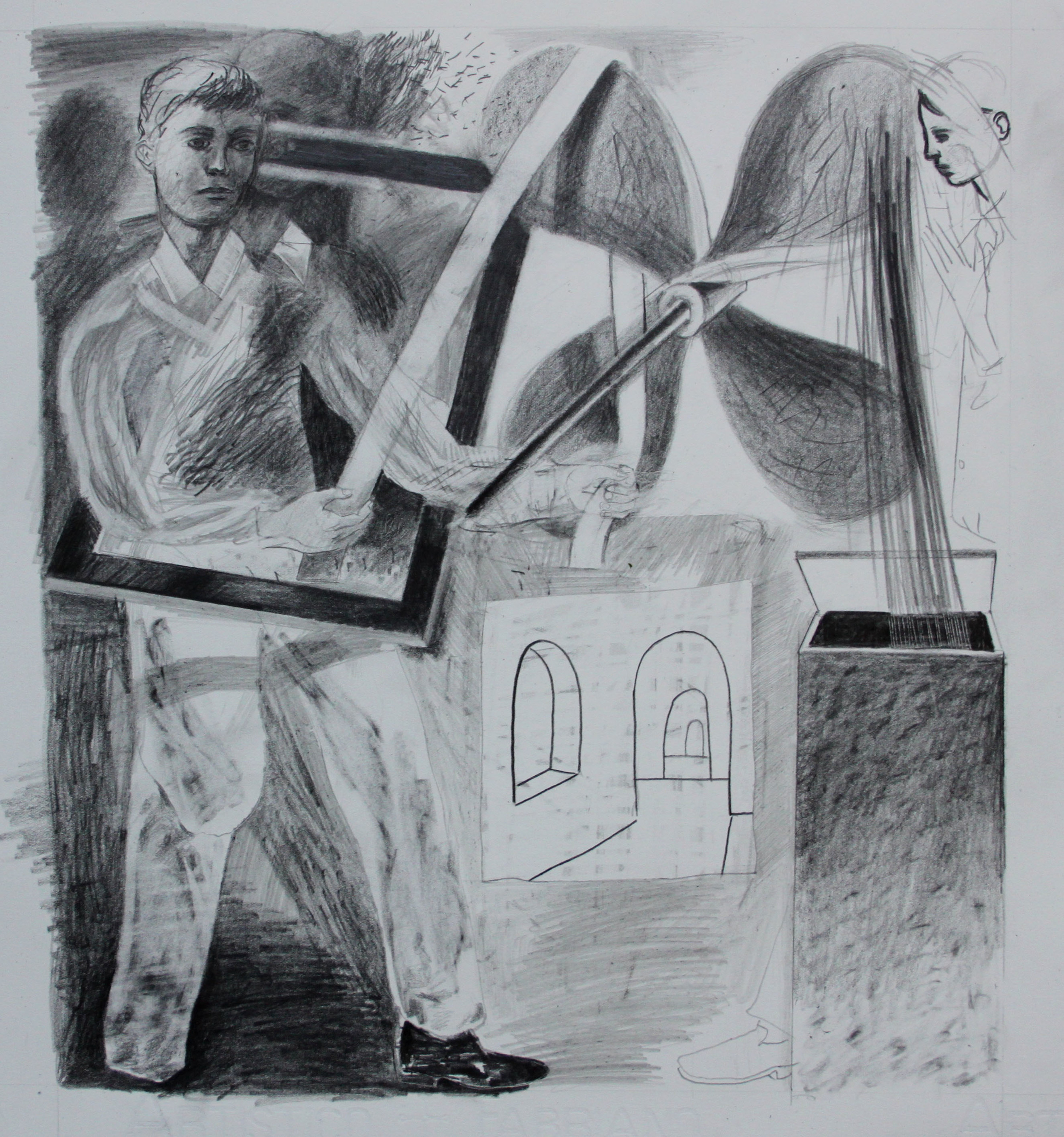 'Boy with Propellor'  Pencil on Fabriano hp Paper, 2014, 40 x 40 cm  (Selected and exhibited as part of ING decreeing eye Exhibition, London 2014)   SOLD