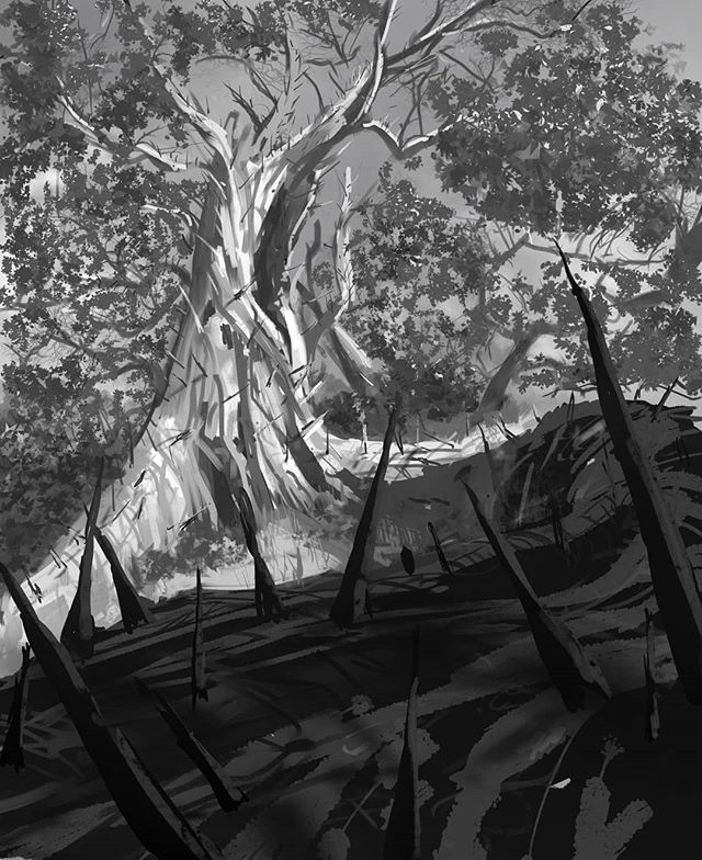 Another sketch for Hex. Idea for Root of Savagery! #hexshardsoffate #hex #art #digitalart #digitalsketch #blackandwhite #tree #fantasy #thorns #instaart #sketch #painting