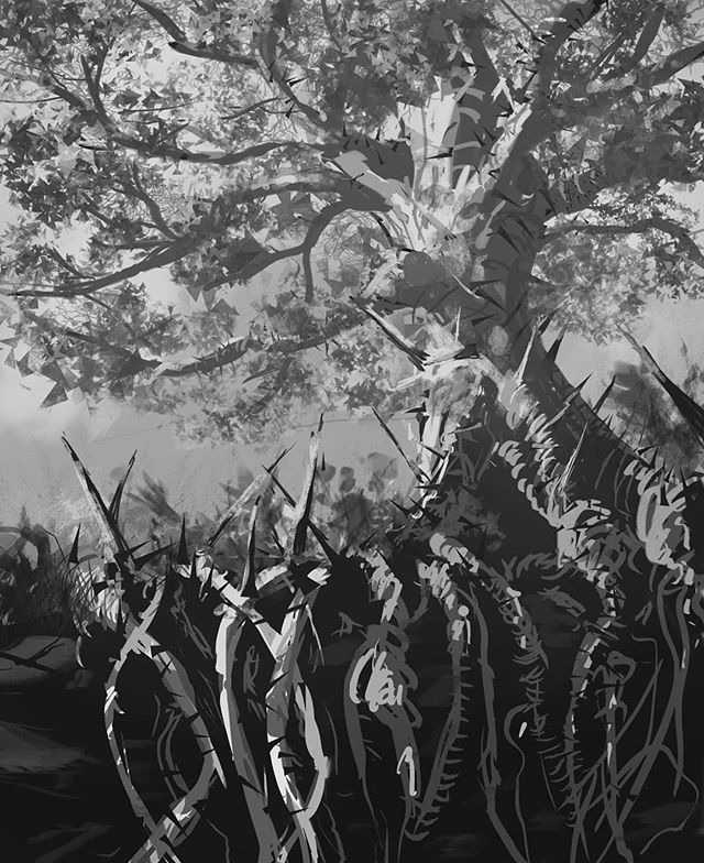 One of my sketches for Hex: Shards of Fate TCG.  This image eventually became Root of Savagery for the Doombringer set #hexshardsoffate #hex #sketch #digitalsketch #art #instaart #painting #digitalart #tree #fantasy #blackandwhite