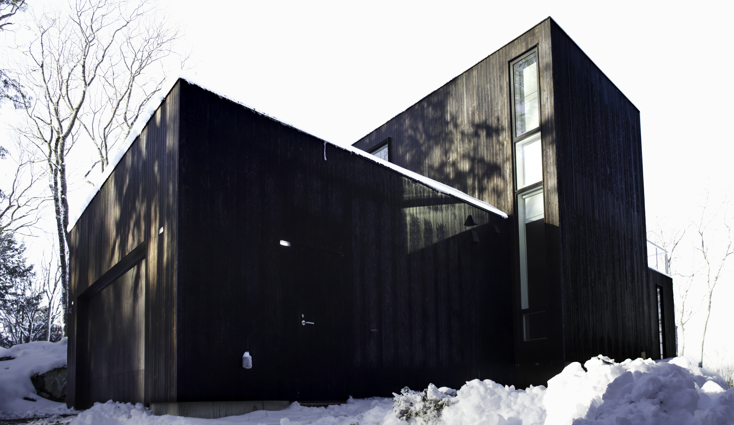 charred wood siding on gorgeous japanese inspired house