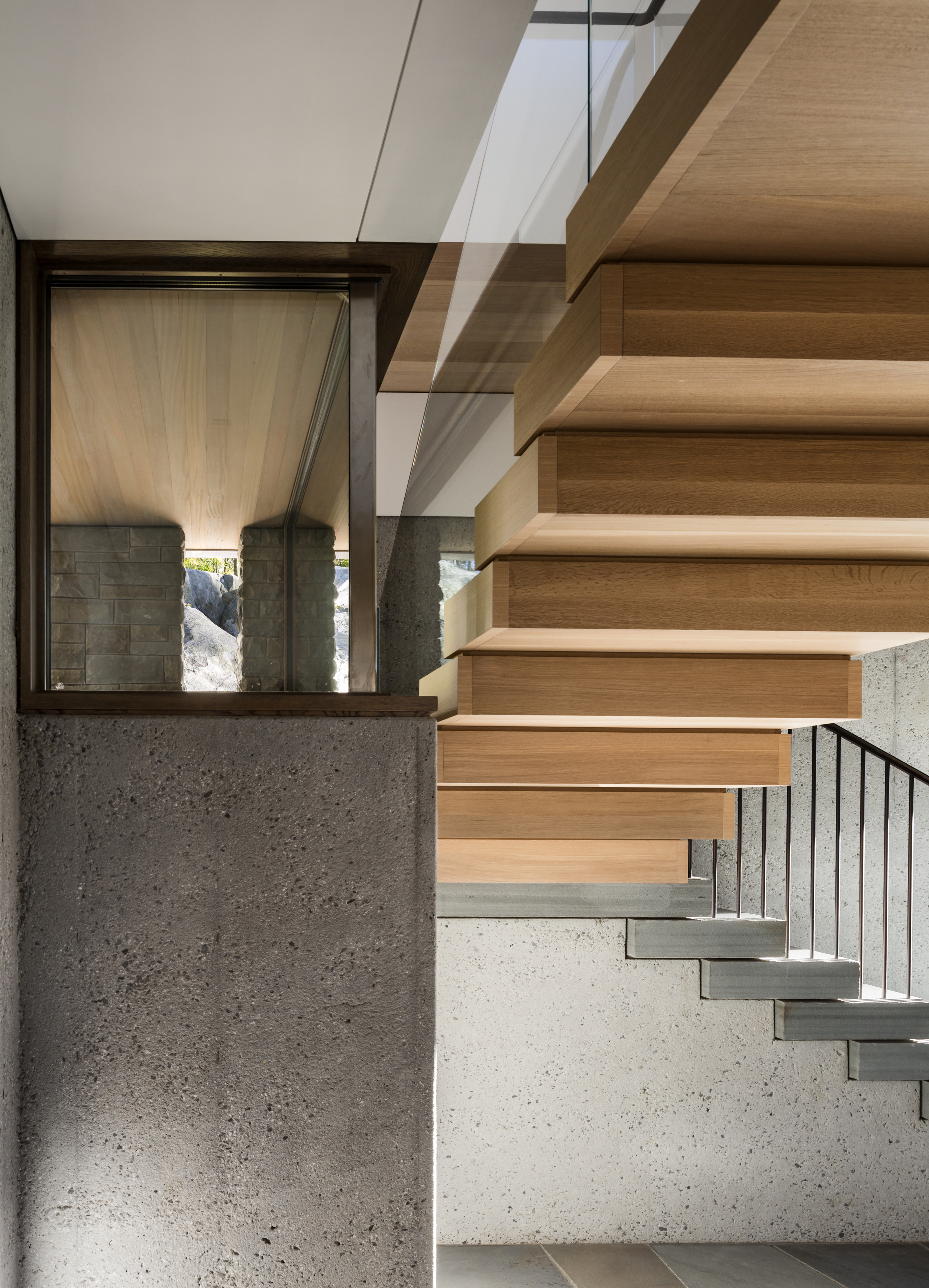 Amazing Wood and Stone Staircase