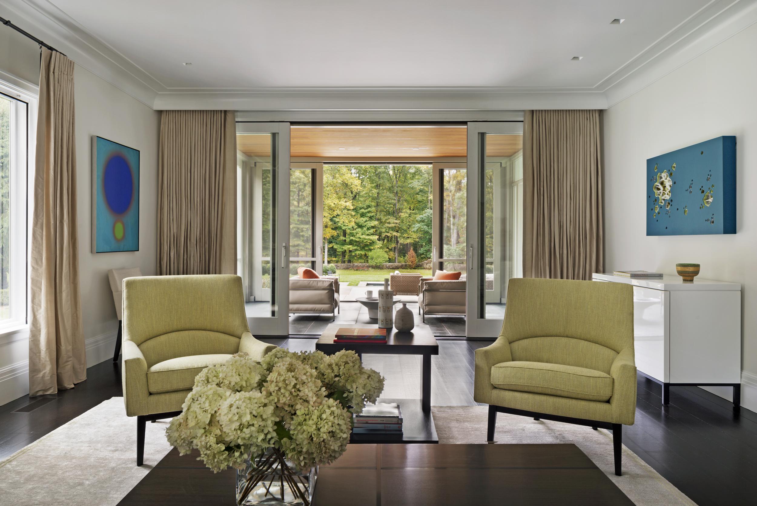 traditional new england custom luxury home living room