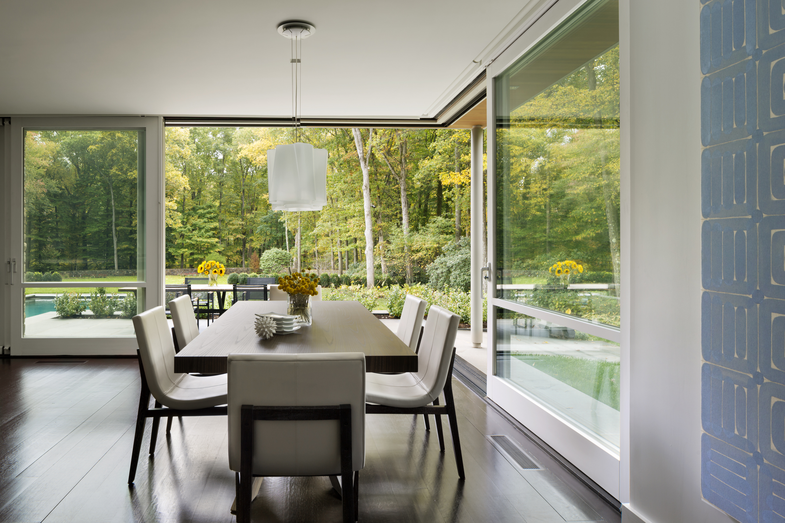 fantastic dining room with wood floors traditional new canaan home