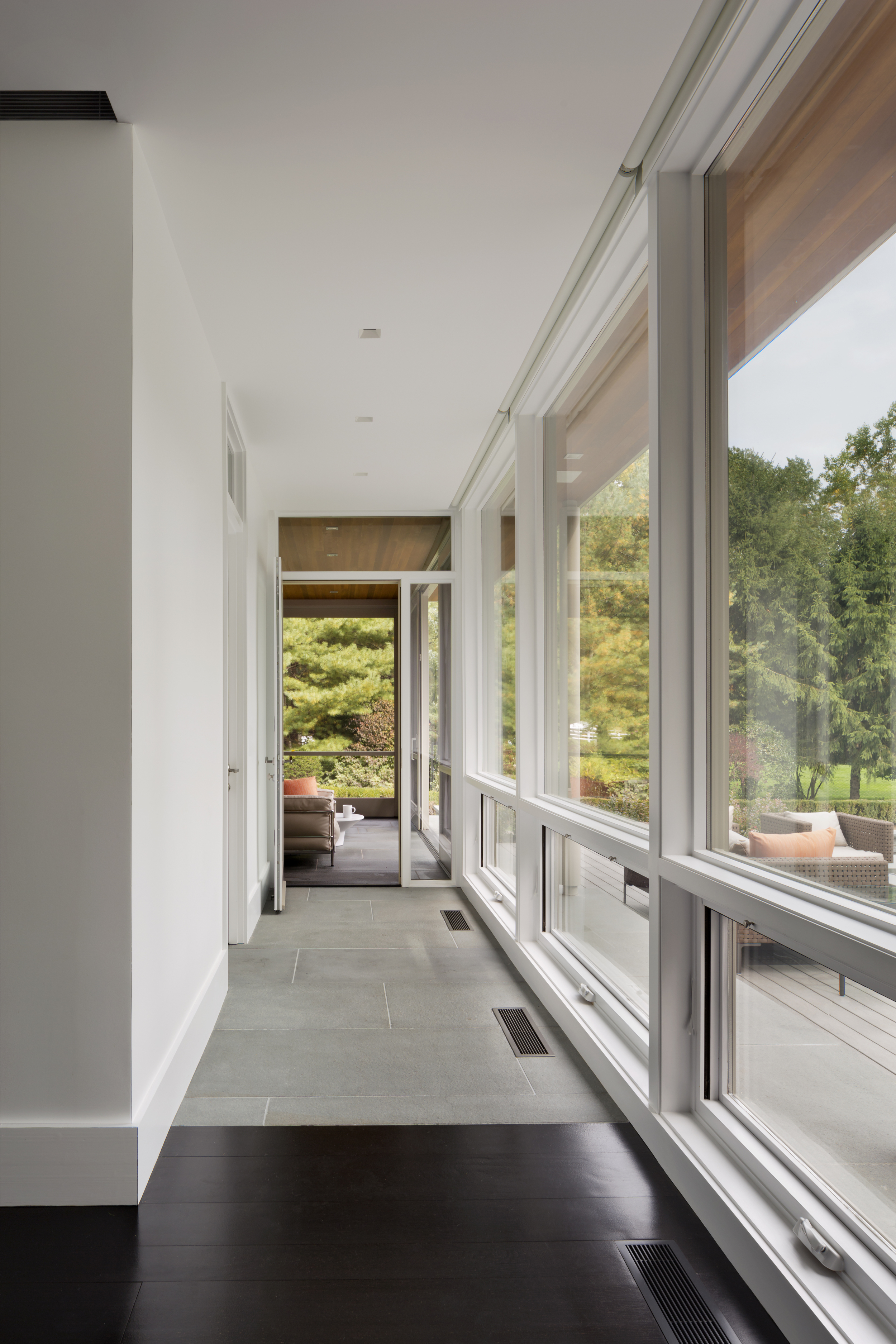 amazing glass hall wood floors traditional architecture