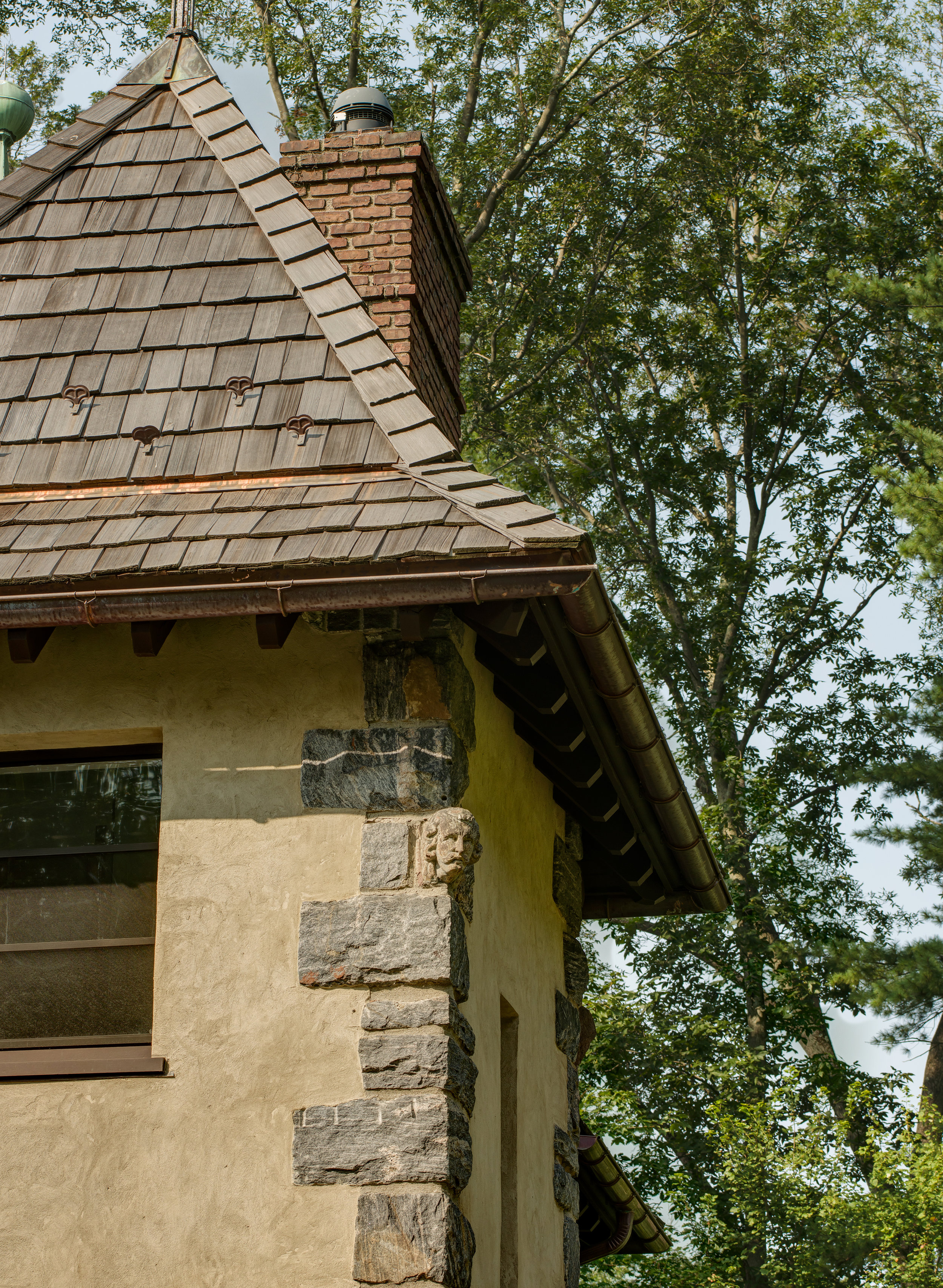 slate shingles brick chimney stone belfry bell tower