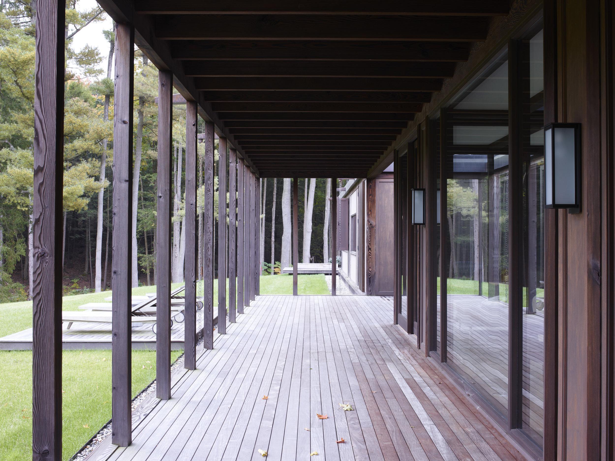 exposed timber deck outdoor bathroom