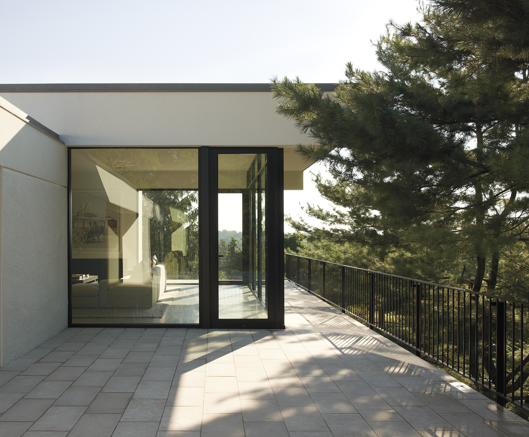 exterior patio views forest perspective glass wall