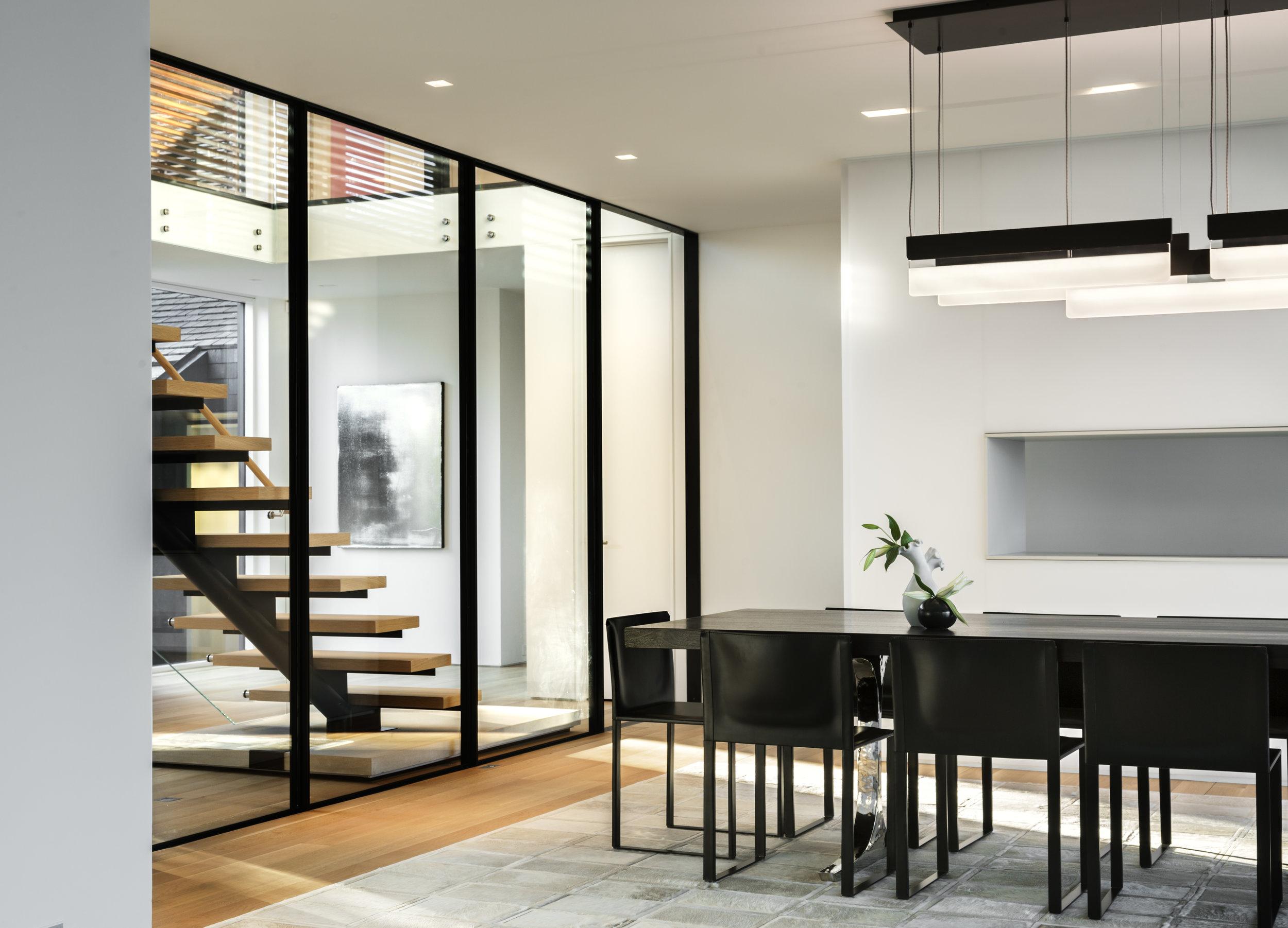 tall glass windows staircase