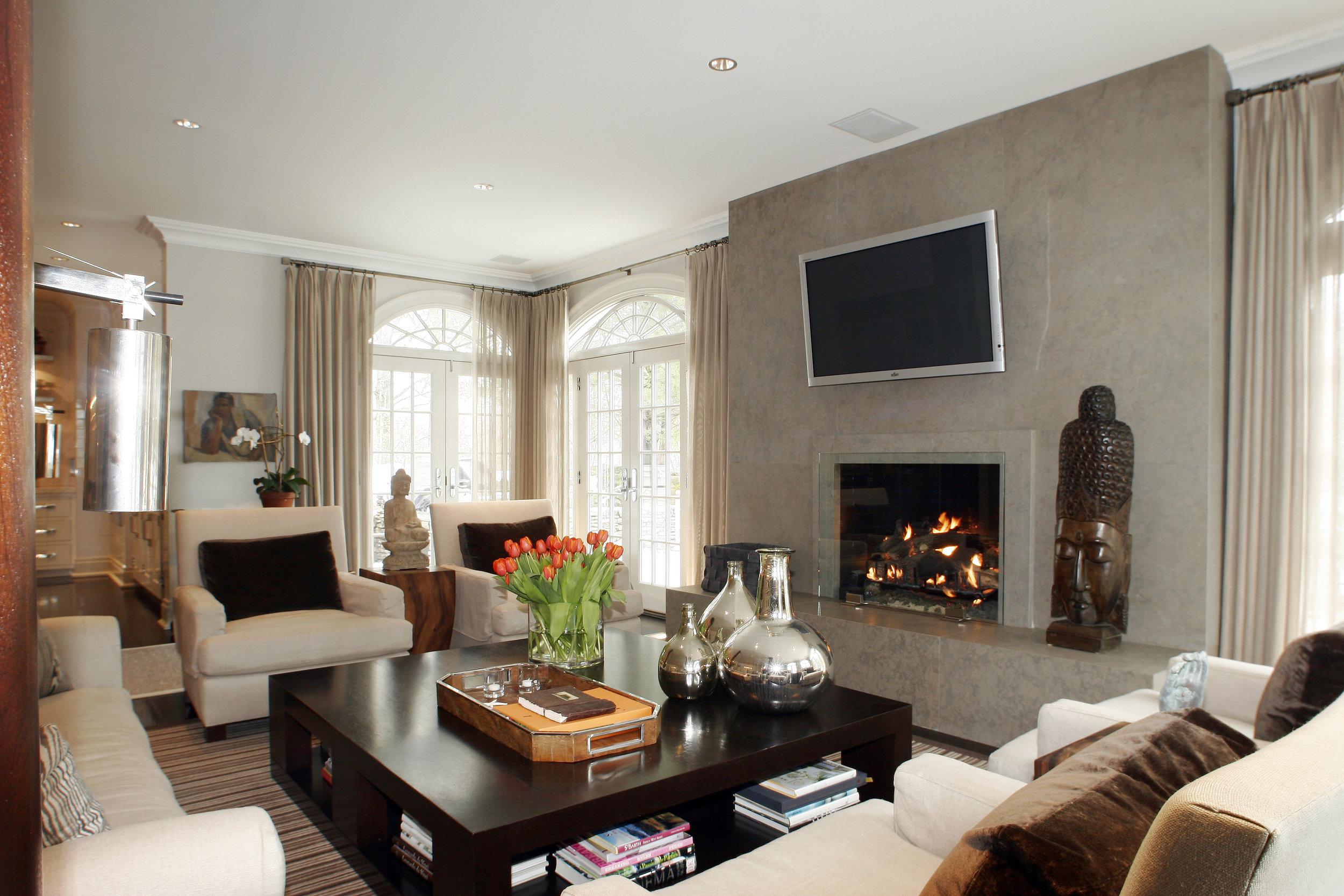 warm living room fireplace custom builders award winning