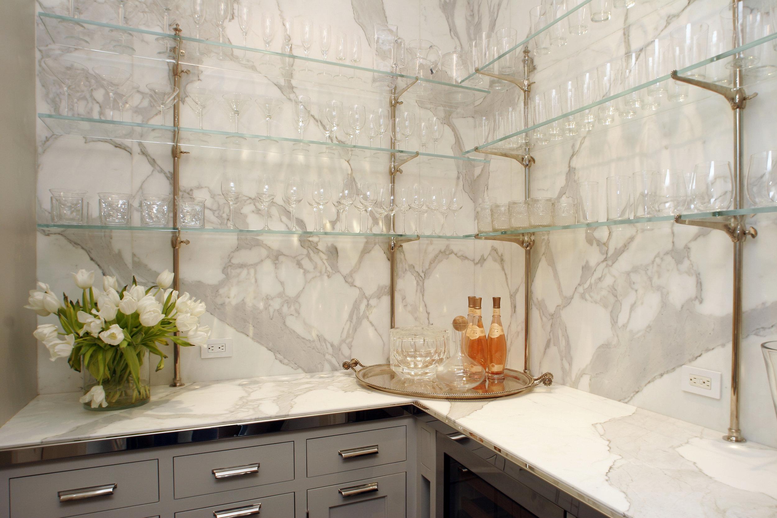 beautiful glass shelving bar area custom luxury home