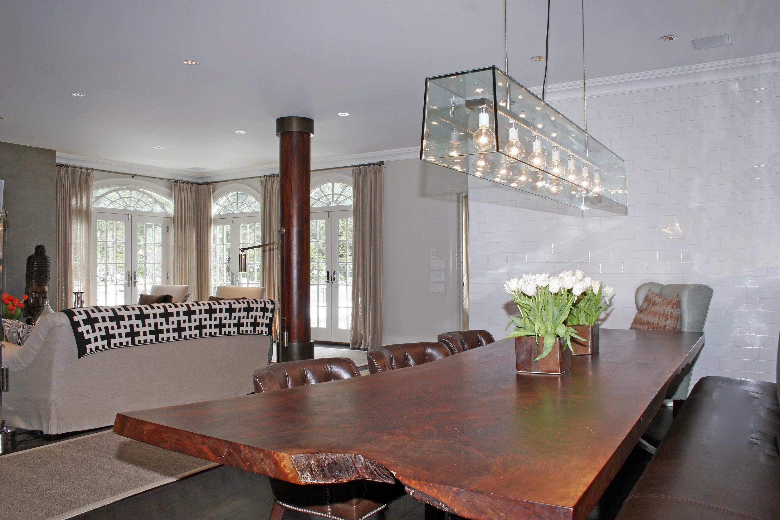 wood slab dining room table custom luxury
