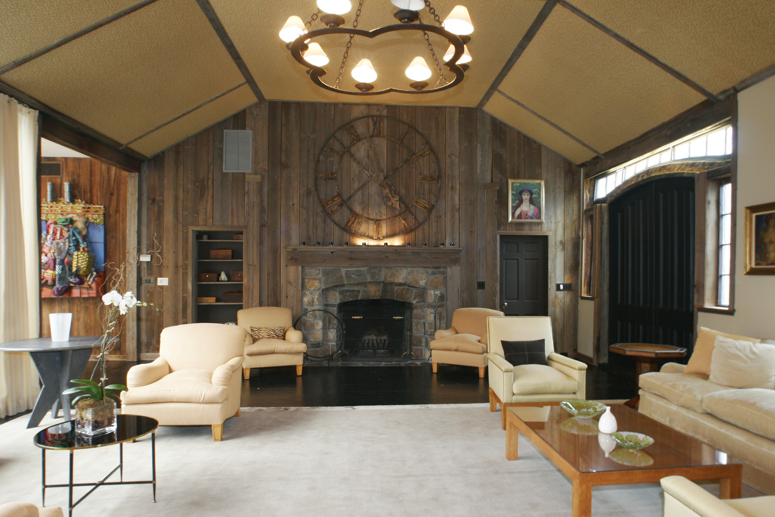 great room lodge style barn country house