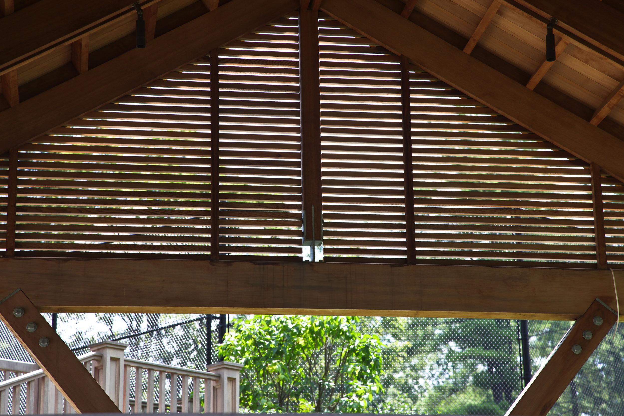 details wooden gazebo poolside relaxation